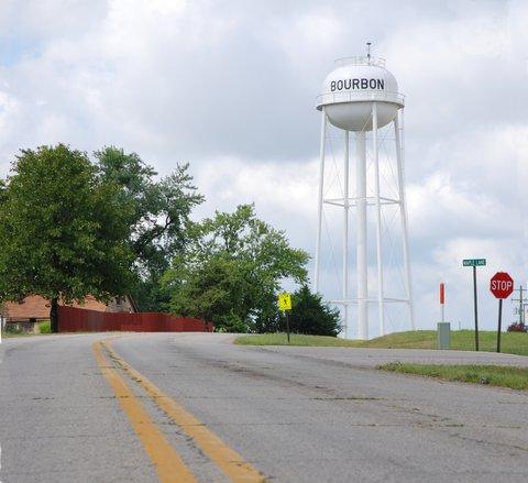 Le château d'eau (!) de Bourbon, Missouri.