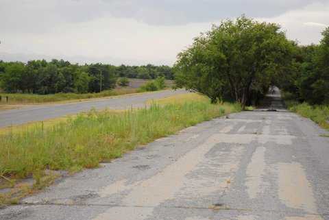 La Route 66 aux confins de l'Oklahoma et du Texas.