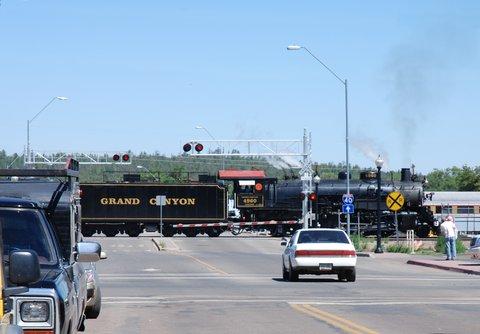 Le Grand Canyon Railway utilise parfois des locomotives à vapeur.