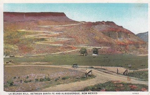 La route de la Bajada Hill (carte postale des années 1920)