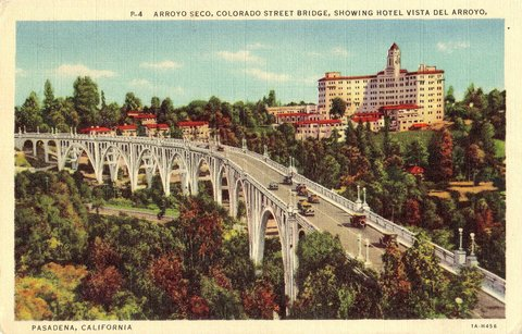 Carte postale de l'Arroyo Seco Pwky au niveau du Colorado St Bridge