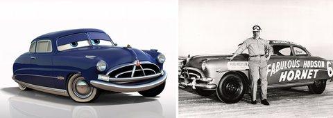 """""""Doc Hudson"""" et la Fabulous Hudson Hornet pilotée par Marshall Teague"""