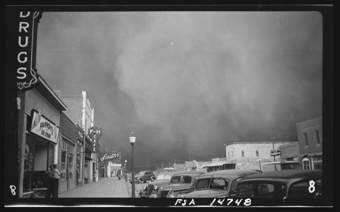 Tempête de poussière à Elkhart, Kansas (mai 1937). Photo © Library of Congress